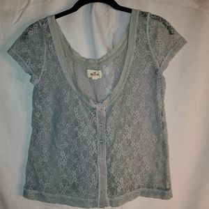 2/$20 lace Hollister grey top